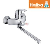 Смеситель для ванны с длинным гусаком Haiba Fabio Chrom 006 Euro встроенный переключатель на душ