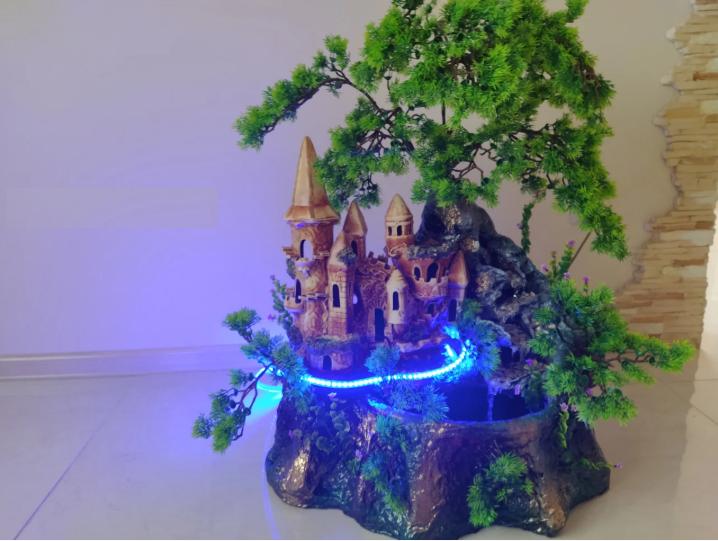 Комнатный напольный Фонтан-Водопад Ручной Работы с подсветкой