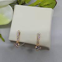 Сережки золоті класичні з камінцями різного розміру
