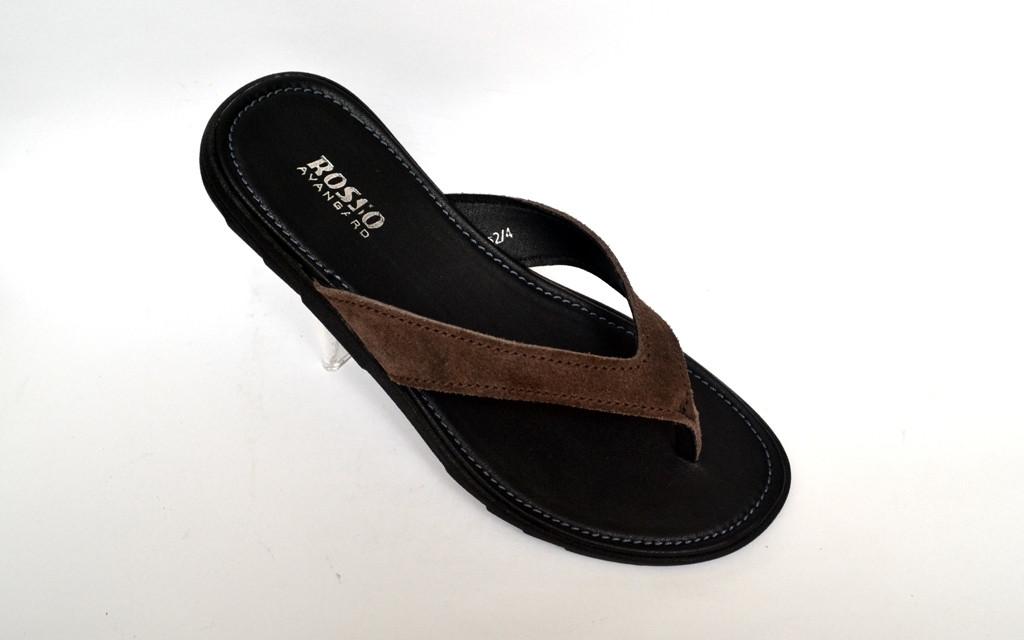 Вьетнамки шлепанцы мужские больших размеров замшевые коричневые Rosso Avangard Flip Flops Brown Vel BS