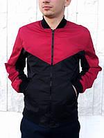 Бомбер Весенний мужской Красно-черный