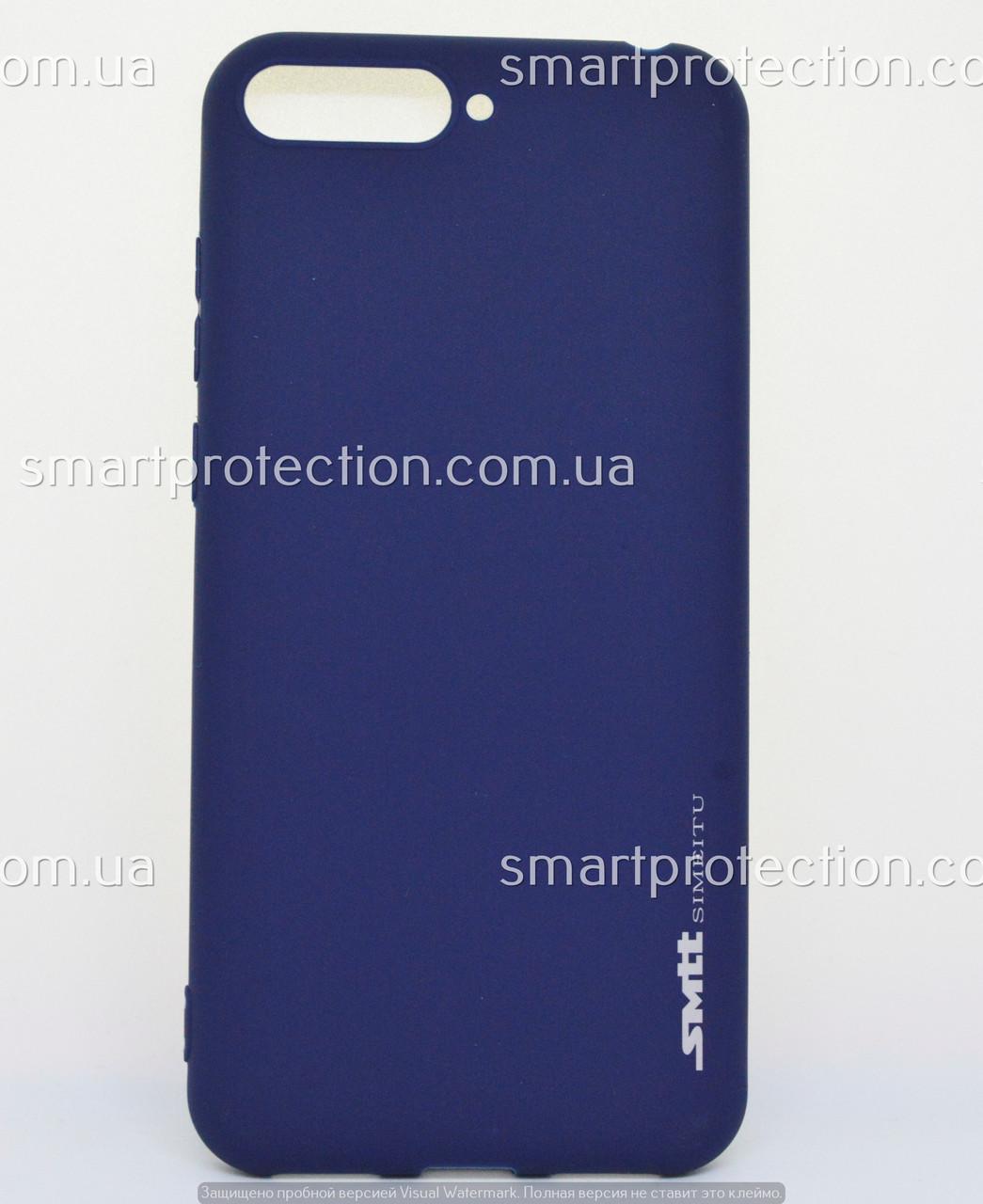 Силиконовый бампер для Huawei Y6 2018 синий SMTT Soft Touch