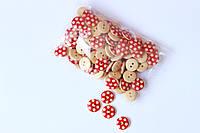 Набір круглих декоративних гудзиків Pugovichok для рукоділля і творчості 15мм червоні в білу крапку
