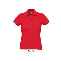 Красная женская рубашка поло с коротким рукавом