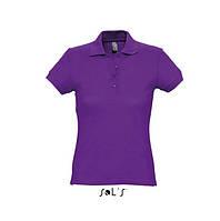 Фиолетовая женская рубашка поло с коротким рукавом