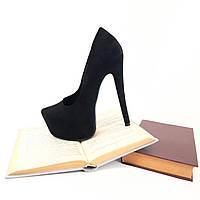 Лабутены черные замшевые, туфли женские на высоком каблуке.