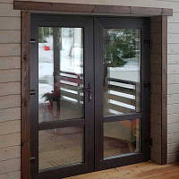 Входные металлопластиковые  двери 2050*1200 наружная ламинация