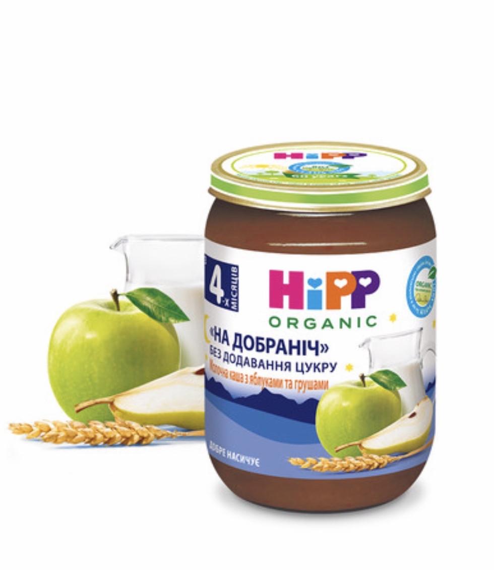 "5511 HIPP Молочна каша з яблуками та грушами ""На добраніч"", 190 г"