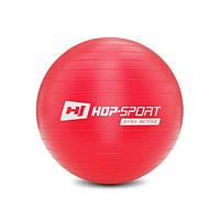 Фитбол для фитнеса и йоги 45 см Hop-Sport красный + насос для дома и спортзала с нагрузкой до 100 кг