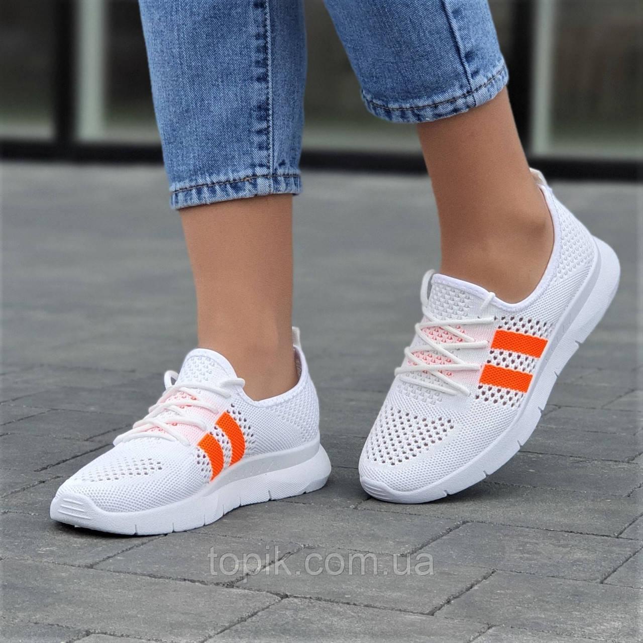 Мокасины белые женские на шнурках кроссовки светлые летние (Код: 1732а)