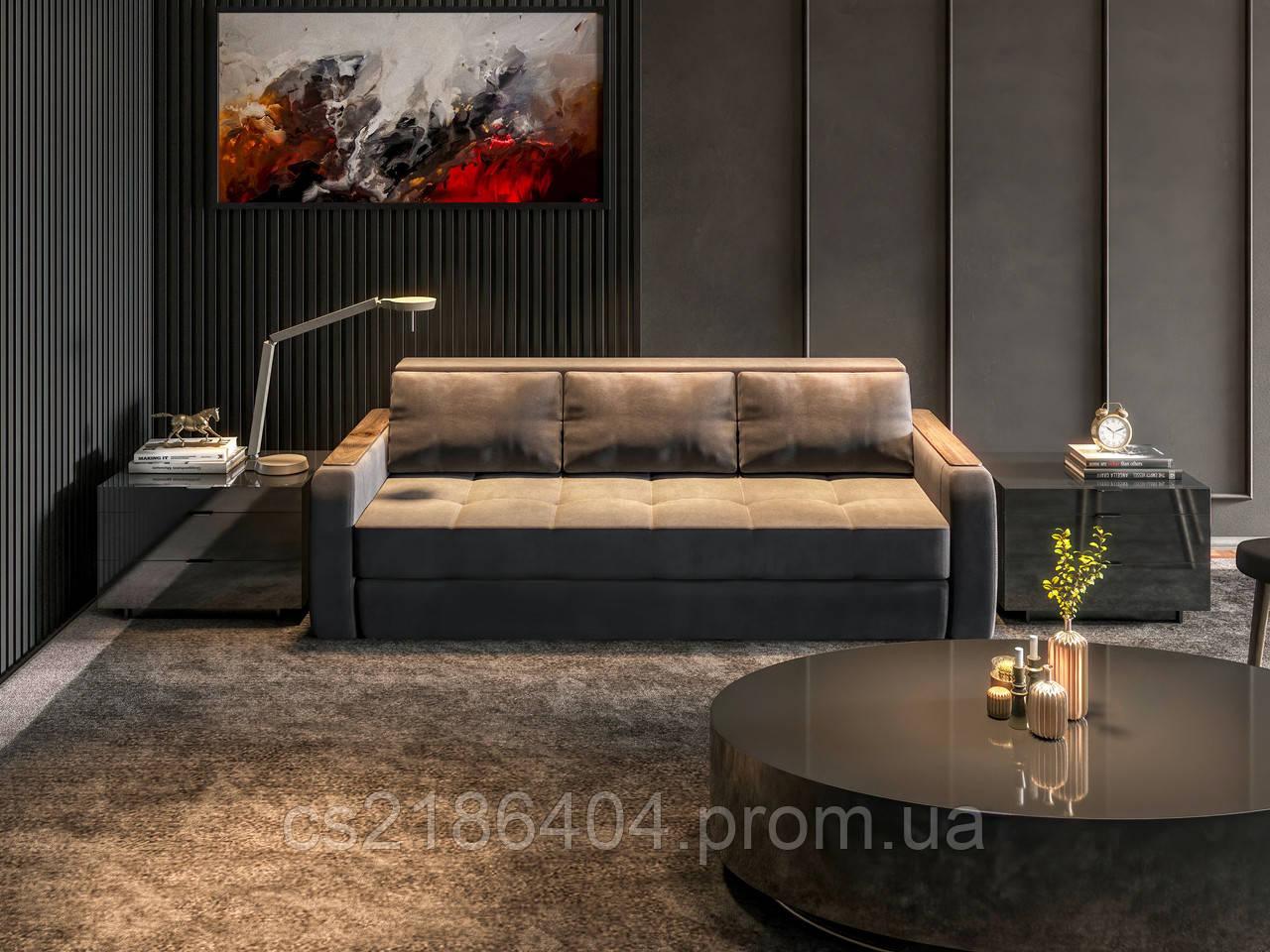 """Прямий розкладний  диван у якісній тканині синього кальору """"Лаурель"""""""