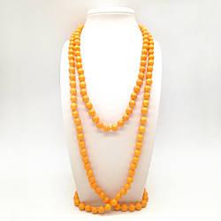 Бусы SONATA из майорки матово-оранжевого  цвета, 63443             (1)