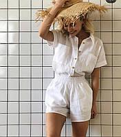 Женская льняная умягченная пижама шорты и рубаха свободного кроя. Доступно в р 40-74+ батал