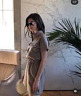 Комплект женский летний из 100% льна: шорты и рубаха свободного кроя. Доступно в р 40-74+ атал