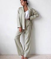 Женский льняной костюм пиджак и брюки пижамные. Доступно в р 40-74+ батал