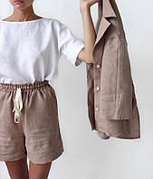 Женский льняной костюм тройка шорты и пиджак, блуза  свободного кроя. Доступно в р 40-74+ батал
