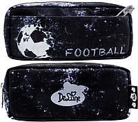 Пенал школьный для мальчика черный с мячом мягкий DeLune D-855