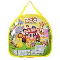 """Палатка для детей  """"Куб"""", зоопарк, размер 83-76-83 см, окна-сетки, 1 вход -липучка, 1 вход на змейке, в сумке."""