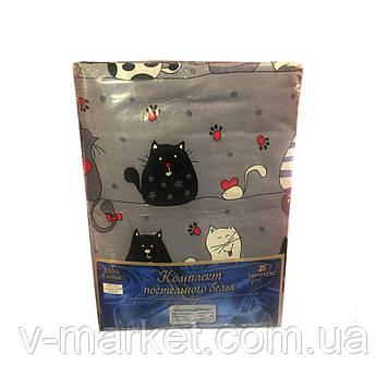 """""""Коты"""" полуторное постельное белье с детским рисунком, Тирасполь, Tirotex, 100% хлопок"""