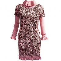 Платье для девочки  розового цвета  леопардовый принт Marions (размер 152)