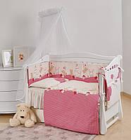 Детский комплект постели для новорожденных Twins Comfort New Горошек 7 элементов, розовый