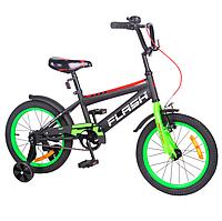 """Двухколесный детский велосипед 16"""" от 4лет TILLY FLASH с учебными колесиками"""