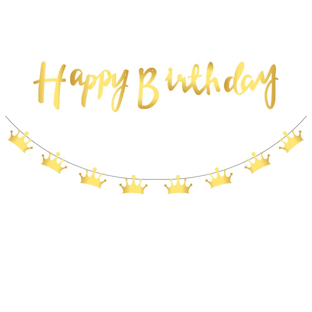 Бумажная гирлянда  Happy Birthday золотая  прописью + Короны (для украшения помещений)