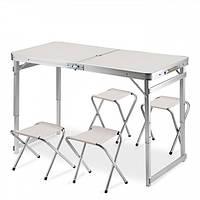 Стол для пикника складной усиленный с регулировкой по высоте 120 х 60 х 55-70 с 4 стульями Белый, фото 1