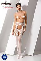 Эротические колготки имитация чулок с подвязками и пояском S023 white Белые Passion Страсть. Колготки