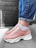Розовые пудровые кожаные кроссовки с перфорацией натуральная кожа белая подошва