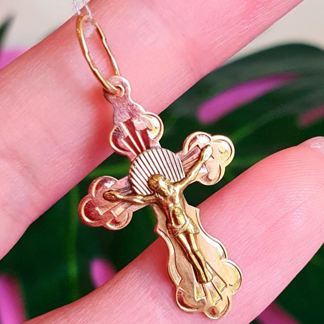 Золотий хрестик на хрестини - Золотий православний хрестик