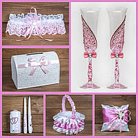 Кружевной cвадебный набор аксессуаров розового цвета (арт. SN-003), фото 1