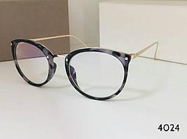 Красивые женские очки кругляши оправа арт 4024 серая черепаха (SKU555)