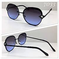 Солнцезащитные очки женские линзы черно-синие градиент (SKU555)