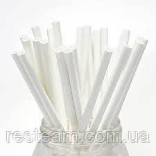 Трубочка бумажная 6*195 мм белая 250шт/уп