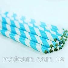 Трубочка бумажная 6*195 мм голубая 50шт/уп