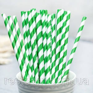 Трубочка бумажная 6*195 мм зеленая 50шт/уп