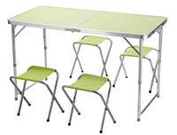 Стол чемодан и стулья для отдыха,кемпинга,рыбалки,дачи.(Обычный ,зеленый)