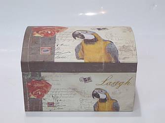 Коробочка праздничная упаковочная (подарочная) в виде сундучка с попугаем для хранения (L)