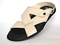 Бежевые сандалии босоножки кожаные мужская обувь больших размеров Rosso Avangard Sandals Beige Flotar BS