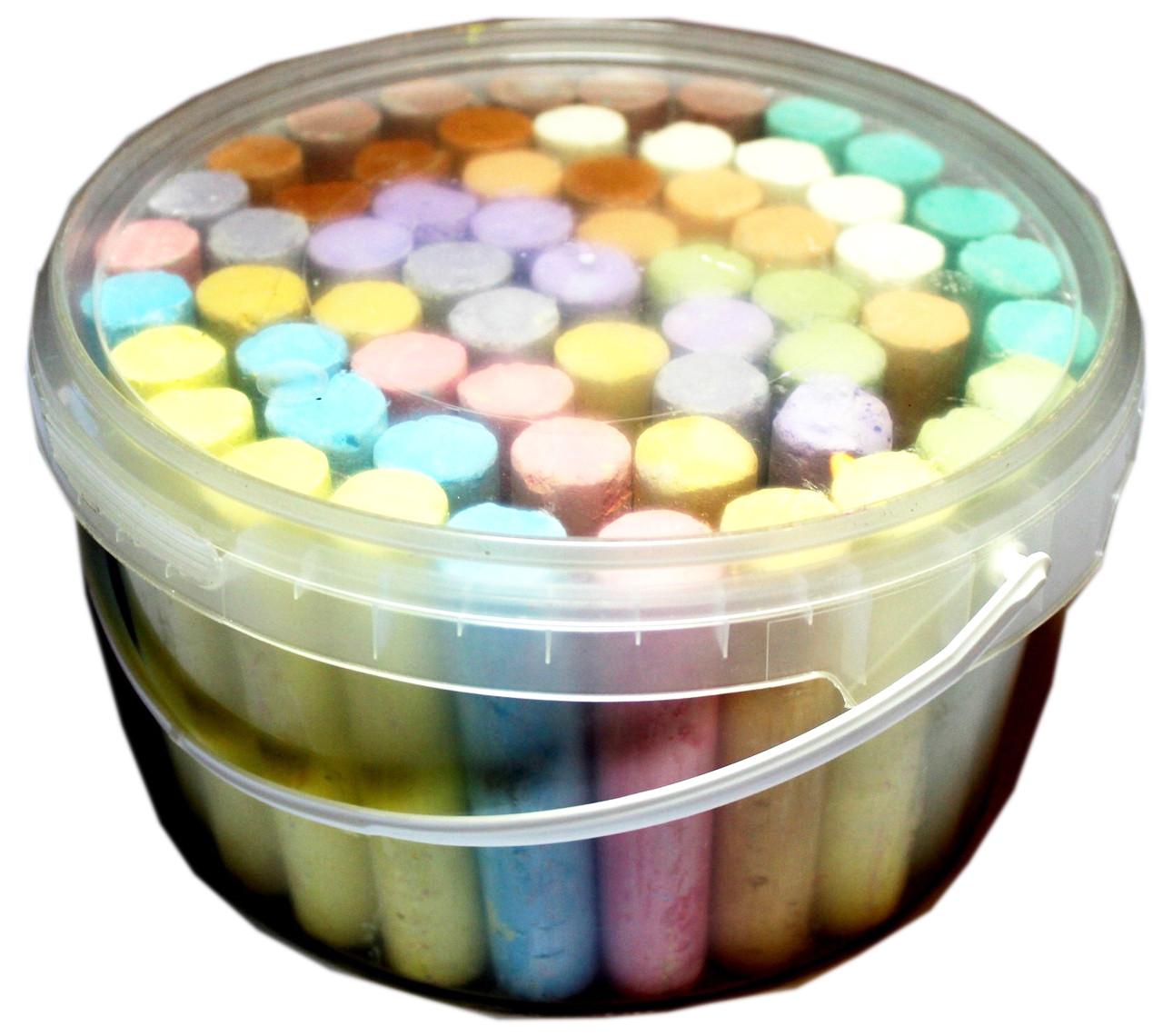 Мелки цветные ЛЮКС КОЛОР (12 цветов/ 12шт) круглые, в пластиковом ведре