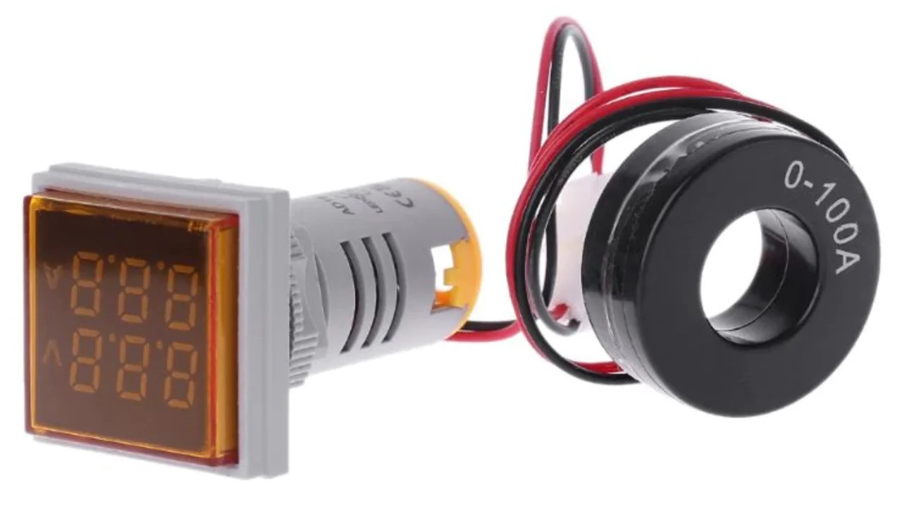 Вольтметр/амперметр AC 22мм 60-500В 0-100А - желтый
