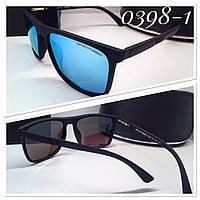 Мужские очки в матовой оправе ARMANI черные с голубыми зеркальными линзами (SKU555-1)
