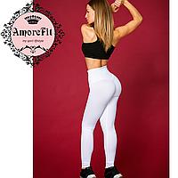 Белые лосины для фитнеса утяжка Amorefit, высокий корсет