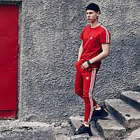 Штаны + футболка мужские Adidas Round xx red | Спортивный костюм мужской летний Адидас ЛЮКС качества
