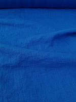 """Льняная плотная костюмная ткань с """"эффектом помятости"""" синего цвета, фото 1"""
