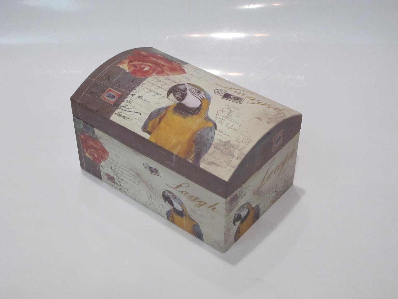 Коробочка праздничная упаковочная (подарочная) в виде сундучка с попугаем для хранения (S)