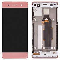 Дисплейный модуль (экран и сенсор) для Sony Xperia XA F3111, F3112, F3113, F3115, F3116, с рамкой, розовый