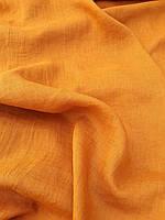 """Льняная сорочечная ткань с эффектом """"помятости"""" """"Куркума"""""""