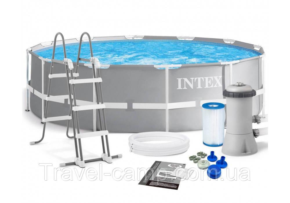 Каркасний басейн Intex 26718 Prism Frame Pool (366*122 см) з фільтром-насосом ,сходи 3 шару
